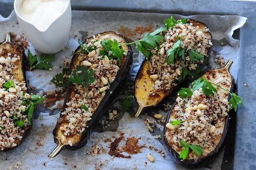 Moroccan Lentil-Stuffed Eggplant